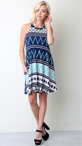 Navy & Aqua Halter Geo Print Dress - Midnight Magnolia Boutique