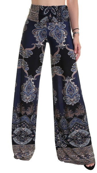 Navy & Black Print Palazzo Pants - Midnight Magnolia Boutique