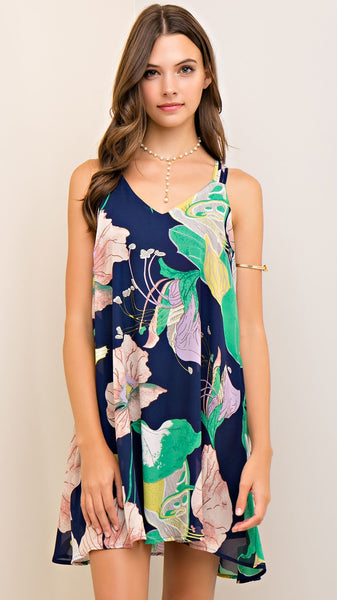 Navy Blue Floral Dress with Strappy Back
