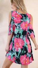 Navy & Pink Floral Cold Shoulder Dress - Midnight Magnolia Boutique