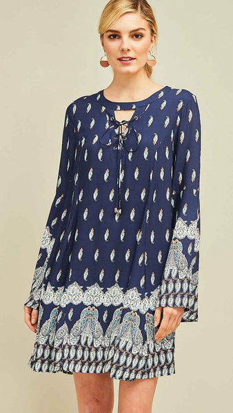 Navy Paisley Dress - Midnight Magnolia Boutique