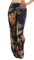 Navy & Taupe Tropical Print Palazzo Pants - Midnight Magnolia Boutique