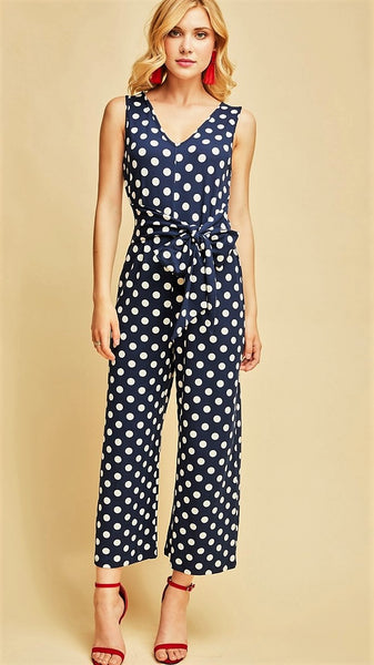 8014e1babe Navy   White Polka-Dot Jumpsuit with Self-Tie – Midnight Magnolia Boutique
