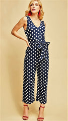 Navy & White Polka-Dot Jumpsuit with Self-Tie - Midnight Magnolia Boutique