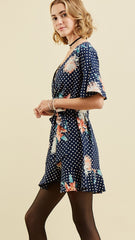 Navy & White Polka Dot Wrap Dress - Midnight Magnolia Boutique