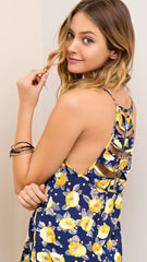 Navy & Yellow Floral Tank w/Ladder Cut Out