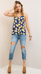 Navy & Yellow Floral Tank w/Ladder Cut Out - Midnight Magnolia Boutique