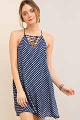Navy & Taupe Polka Dot Racerback Dress - Midnight Magnolia Boutique