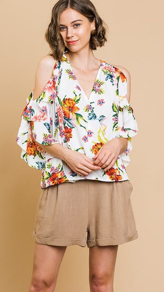 Off White Floral Print Open Shoulder Top
