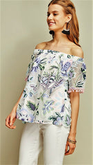Pink, Ivory & Lavender Floral Off Shoulder Top with Pom Poms - Midnight Magnolia Boutique