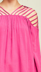 PInk Top with Cut Out Strappy Shoulders - Midnight Magnolia Boutique