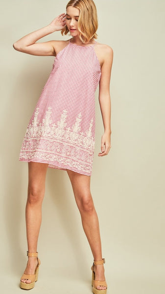 Pink & White Gingham Check Halter Dress with Embroidery
