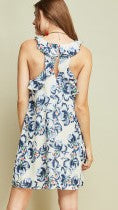 Royal Blue & White Floral Print Dress - Midnight Magnolia Boutique