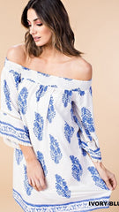 Royal Blue & Ivory Off the Shoulder Dress or Tunic - Midnight Magnolia Boutique