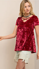 Ruby Red Velvet Criss-Cross Top - Midnight Magnolia Boutique