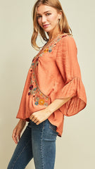 Rust Surplice Embroidered Top - Midnight Magnolia Boutique
