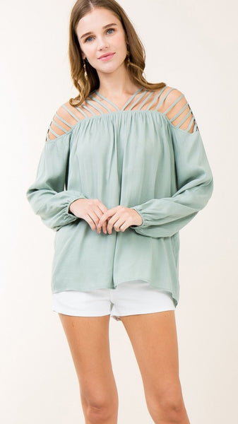 Sage Top with Cutouts & Strappy Detail