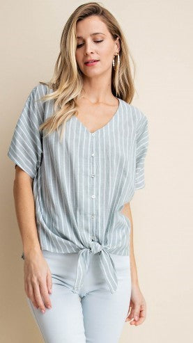 Sage Green & White Striped Tie Top - Midnight Magnolia Boutique