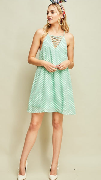 Sage & Ivory Polka Dot Racerback Dress - Midnight Magnolia Boutique