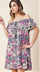 Silver Grey Floral Off the Shoulder Tunic - Midnight Magnolia Boutique