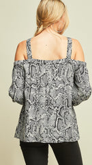 Charcoal Gray Reptile Print Cold Shoulder Top - Midnight Magnolia Boutique