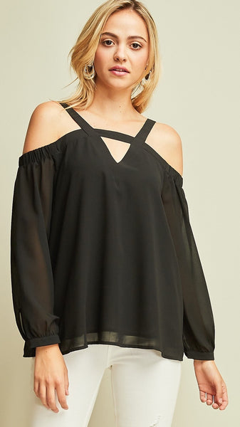 Black Solid Open Shoulder Cut Out Top - Midnight Magnolia Boutique