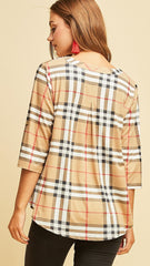 Taupe, White & Black Plaid V-Neck Top - Midnight Magnolia Boutique