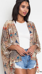 Taupe Tribal Print Kimono with Pom Poms - Midnight Magnolia Boutique