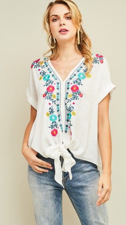 White Floral Embroidered Tie Top - Midnight Magnolia Boutique