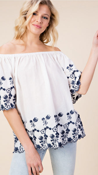 White with Navy Embroidered Border Off Shoulder Top - Midnight Magnolia Boutique