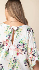 White Floral V Neck Top w/Back Tie - Midnight Magnolia Boutique