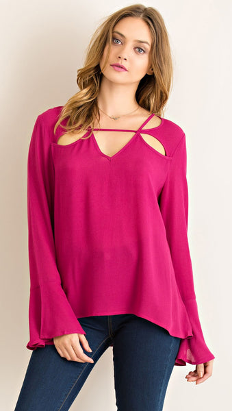 Wine Cut Out Top with Bell Sleeves - Midnight Magnolia Boutique