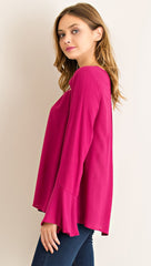 Wine Cut Out Top with Bell Sleeves