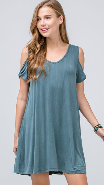 Teal Washed Cold Shoulder Dress - Midnight Magnolia Boutique