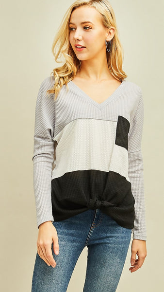 Black, Grey & White Color Block Tie Top - Midnight Magnolia Boutique