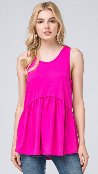 Solid Fuchsia Sleeveless Top - Midnight Magnolia Boutique