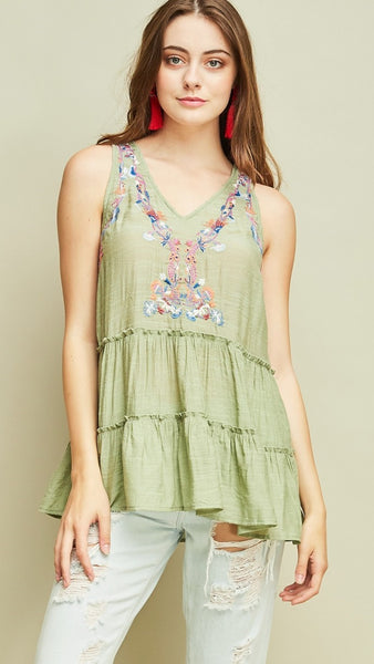 Sage Sleeveless Embroidered Top - Midnight Magnolia Boutique