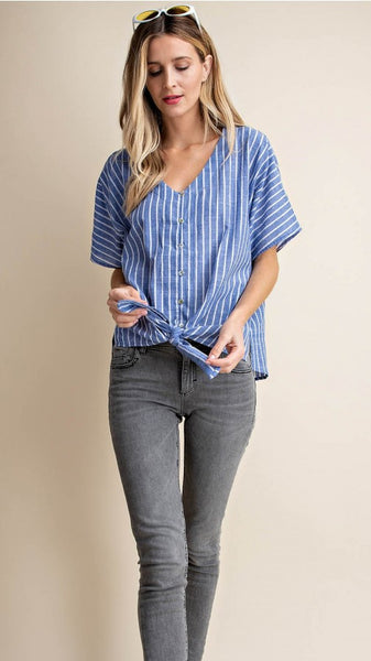 Blue & White Striped Tie Top
