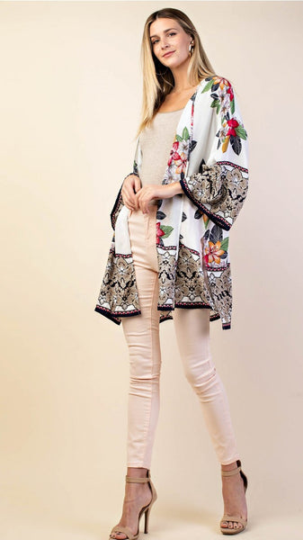White Kimono with Black Floral Border - Midnight Magnolia Boutique