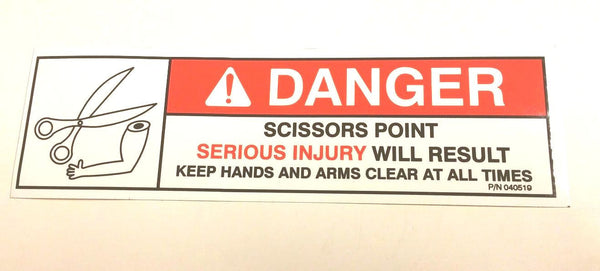 "Auto Crane 40519000 DECAL, DANGER ""SCISSORS POINT"""