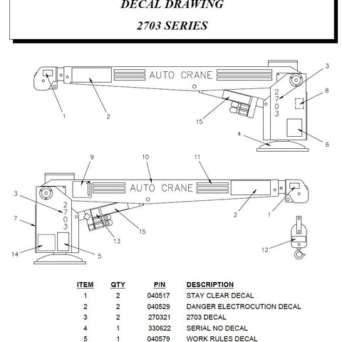 Auto Crane 270395000 DECAL KIT FOR 2703 Series Crane