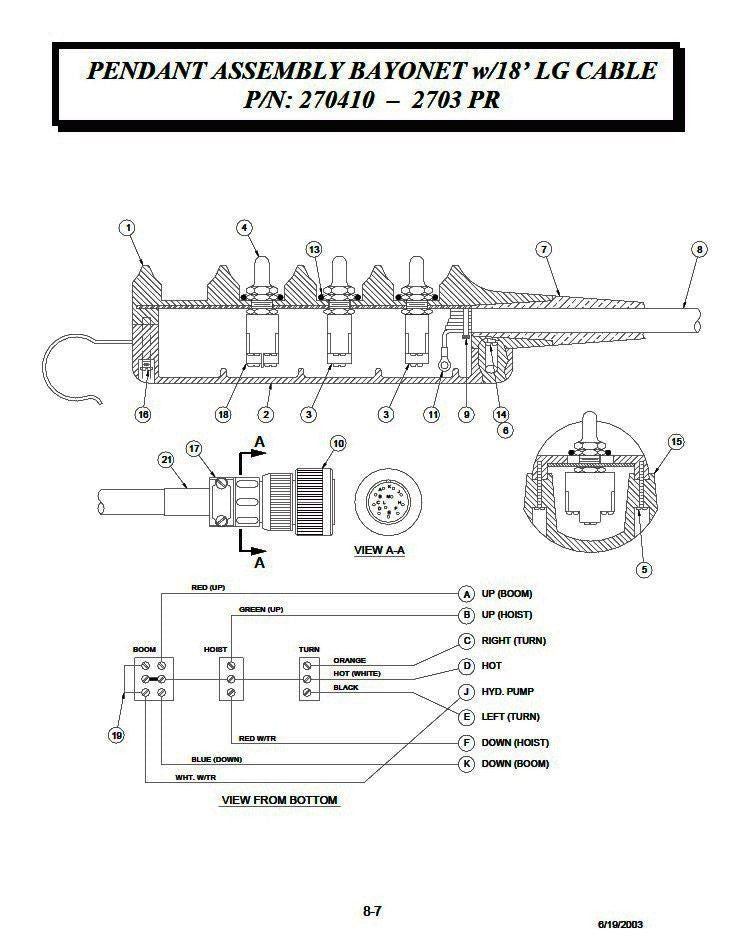 auto crane 270410000 pendant assembly 11 pin, 3 function