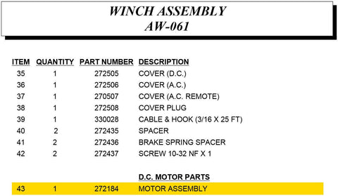 Auto Crane 272184000 Motor Assembly for Econoton II