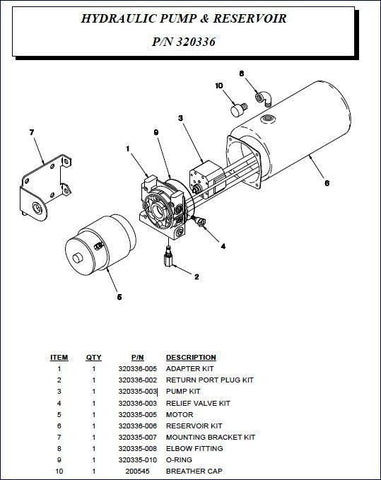 Auto Crane 320336000 Hydraulic Pump Assembly for 3203PR, PRX, 4004EH