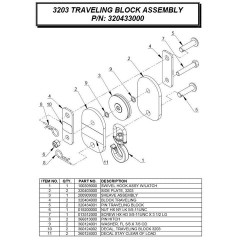 Auto Crane 320433000 Travel Block Assembly for 3203PRX