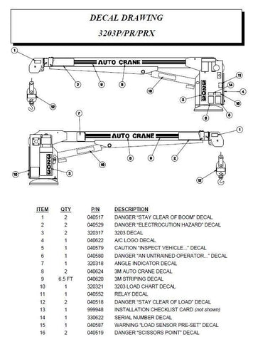 Auto Crane 320445000 DECAL KIT 3203PRX