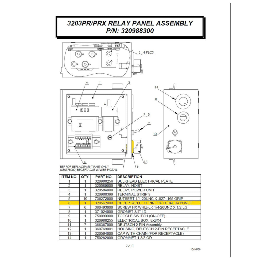 Auto Crane Replacement Part Diagram Schematic Diagrams 3203 Prx Wiring 320562000 11 Pin Receptacle For A 3203prx 4004eh 2006 Dodge Brake Line