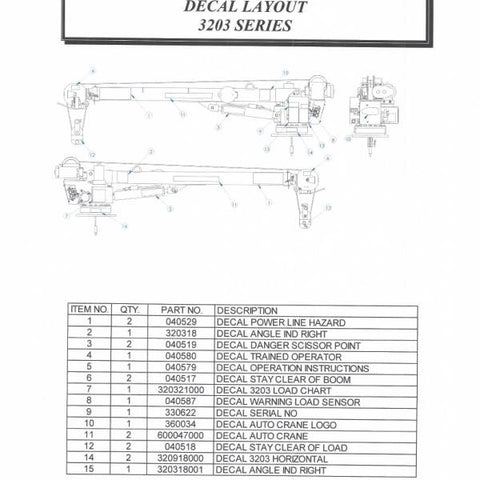 Auto Crane 320988004 Decal Kit for 3203 Series Cranes (Horizontal) for mfg date Sept 2003 & newer
