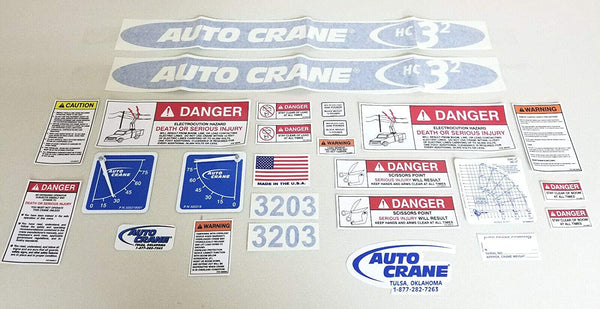 Auto Crane 320989010 Decal Layout for 3203H