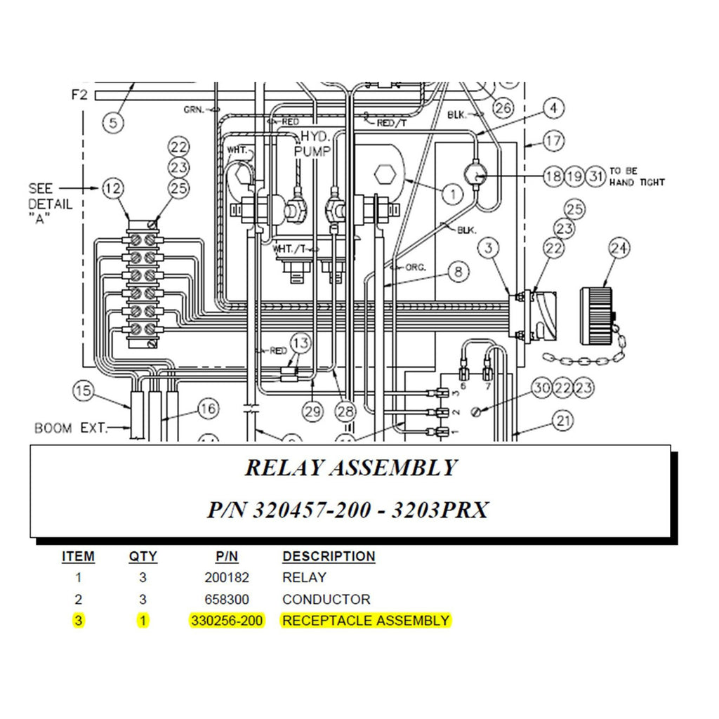 auto crane 330256200 receptacle assembly wired for 3203prx b b rh store bbcranes com Auto Crane Parts Diagram Solenoid Diagram